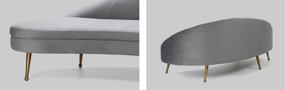 Layered gray velvet modern cool kidney sofa