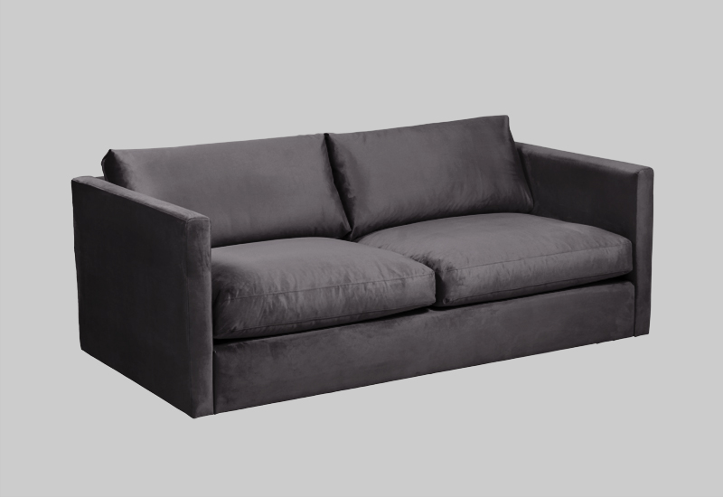 Layered modern gray velvet sofa