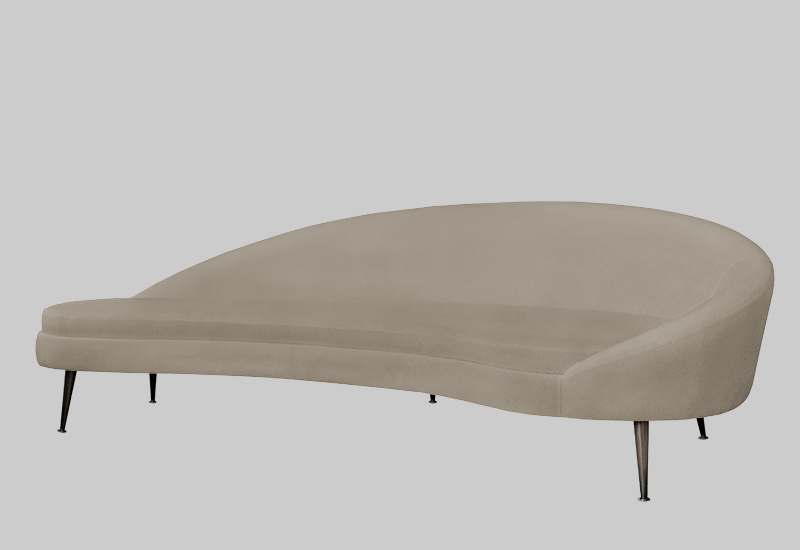 Layered beige modern brass legs kidney sofa