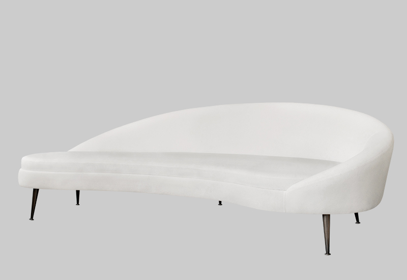 Layered white modern cool kidney sofa