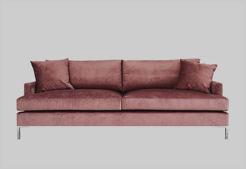 Layered modern elegant pink red velvet sofa
