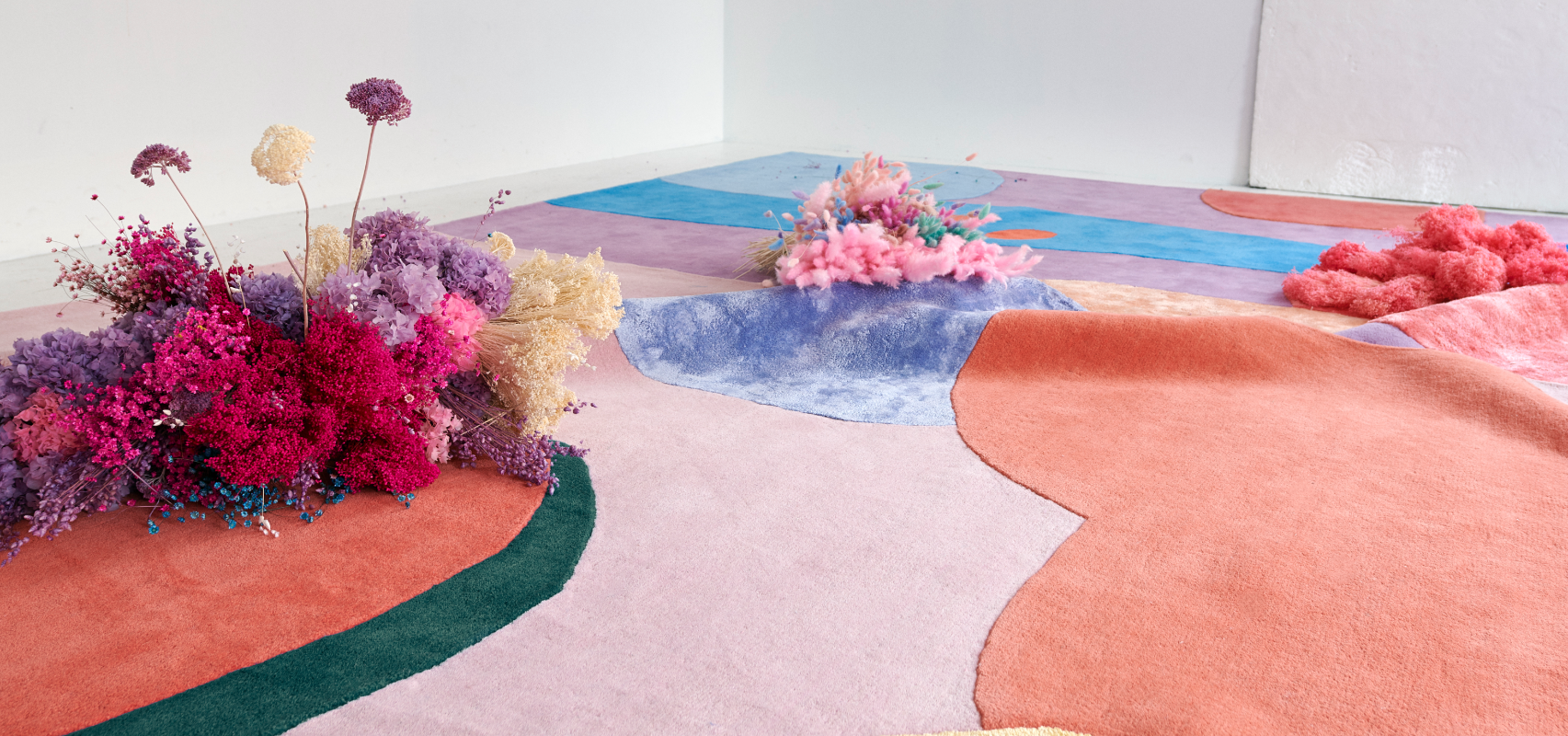 Patterned rugs from layered